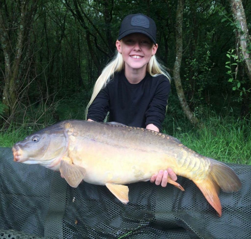 Lily Hammond with her 14lb catch from lodge lake using sticky baits krill boilies. Lily was here with dad Jason Hammond who is a regular here at Stafford moor.